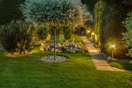 Exterior of Home with a Landscape Lighting Design